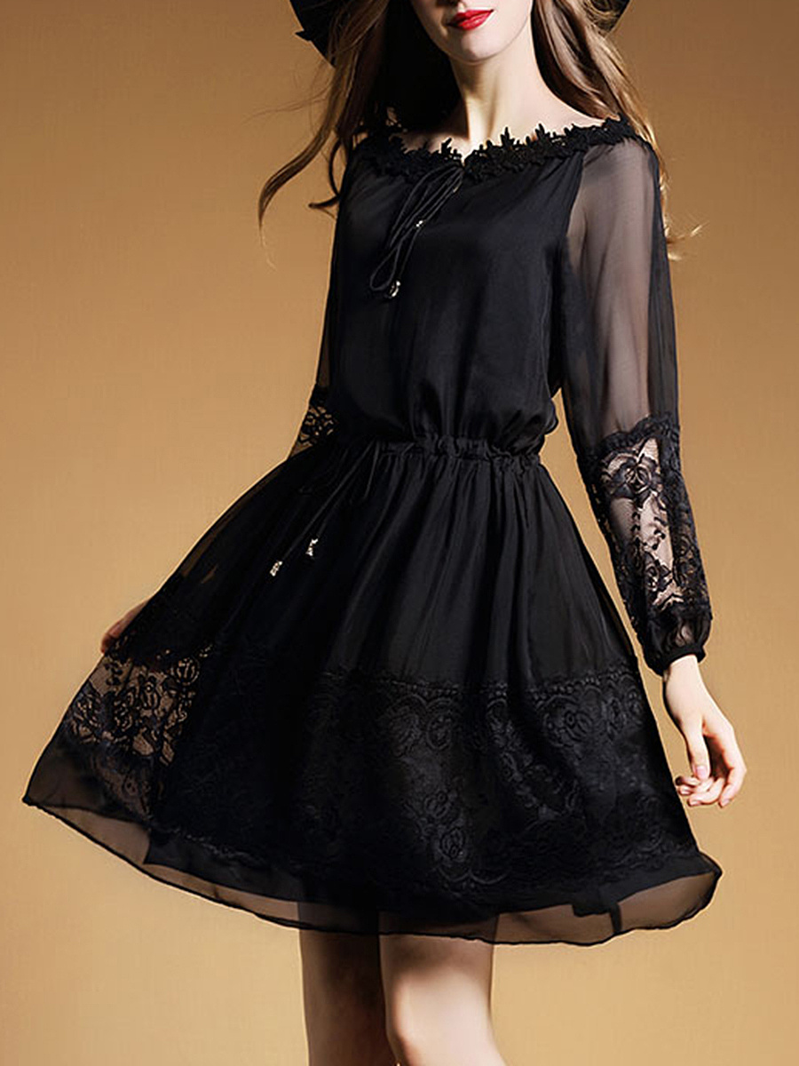 V-Neck  Decorative Lace See-Through  Plain  Polyester Skater Dress