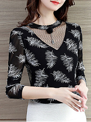 Autumn Spring  Mesh Spandex  Women  Round Neck  Feather Long Sleeve T-Shirts