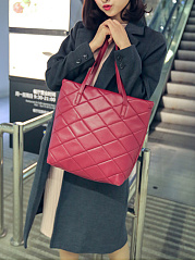 Plaid Quilted Pu Big Capacity Shoulder Bag