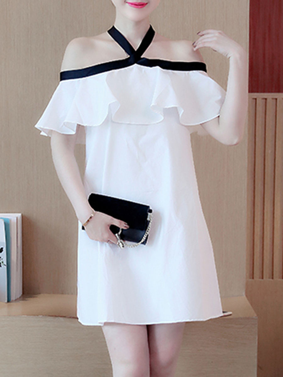Halter  Color Block Shift Dress