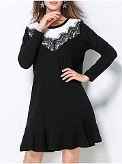 Round Neck  Patchwork  Color Block Colouring Lace Skater Dress