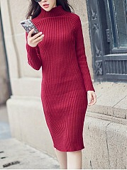 Women High Neck Solid Knitted High Stretch Bodycon Dress