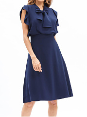 Tie Collar Flounce Plain Skater Dress