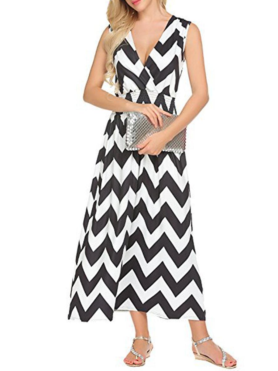 Surplice  Elastic Waist  Printed Maxi Dress