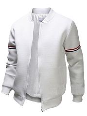 Band-Collar-Striped-Pocket-Men-Bomber-Jacket