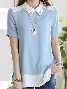 Summer  Chiffon  Women  Doll Collar  Asymmetric Hem  Plain  Short Sleeve Blouses
