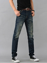 Ripped Light Wash Straight Men's Jeans