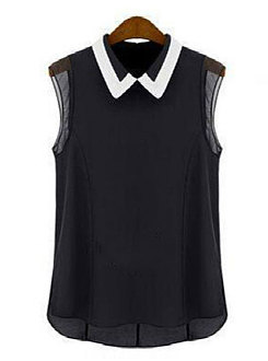Summer  Polyester  Women  Turn Down Collar  Plain  Sleeveless Blouses