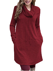 High Neck  Plain Casual Shift Dress