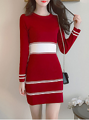 Round Neck Striped Knitted Mini Bodycon Dress