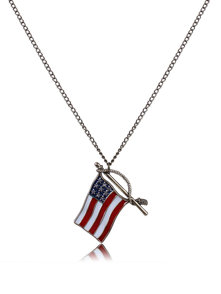 Flag Shape Long Necklace