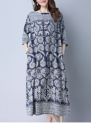 Tribal Printed Boat Neck Pocket Maxi Dress