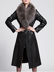 Faux Fur Collar Belt Longline PU Leather Coat