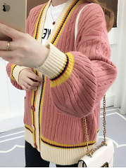 Patch Pocket  Contrast Piping  Plain  Long Sleeve Cardigans