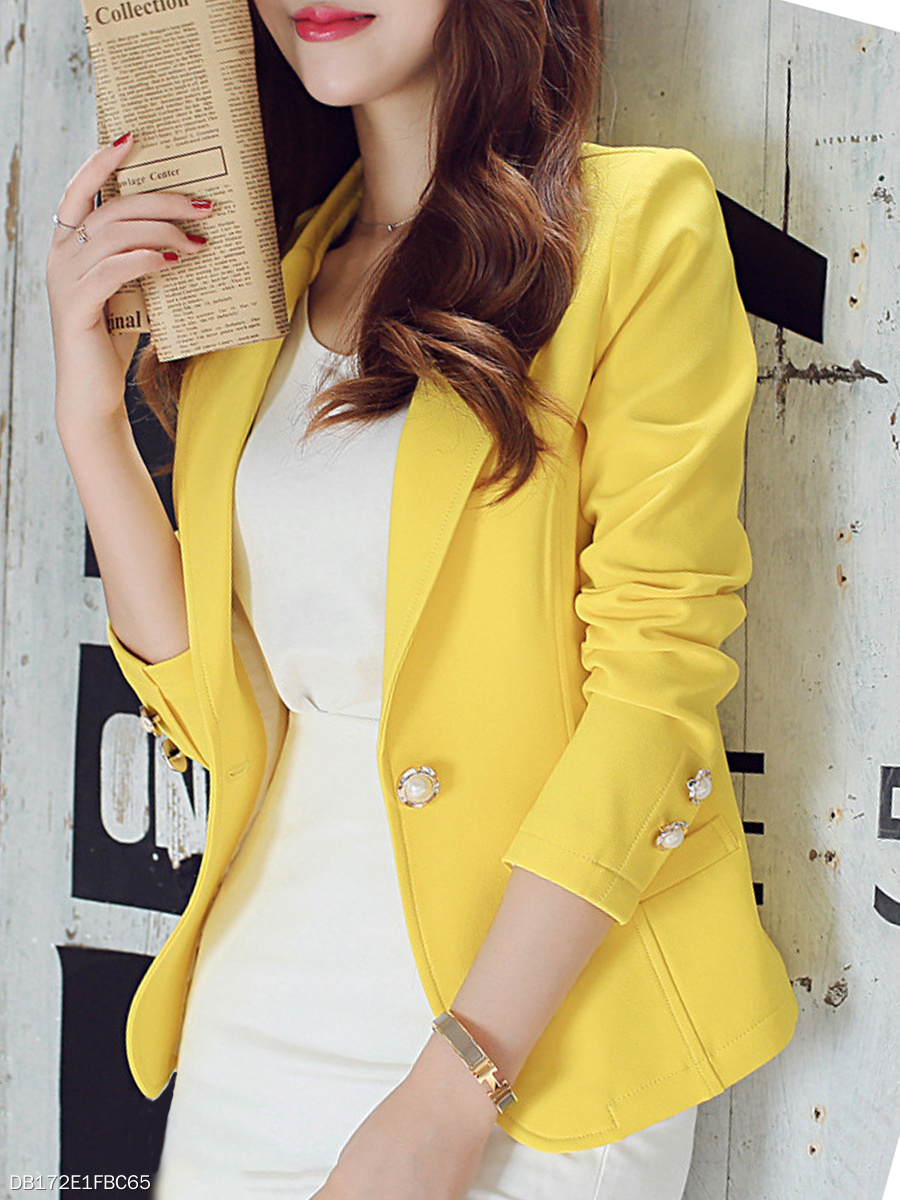 Single Button Plain Notch Lapel Blazer