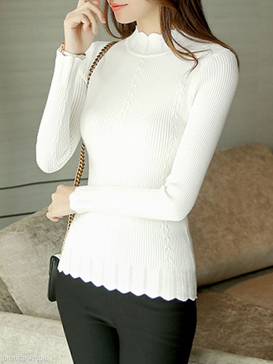 High Neck  Scalloped Hem  Plain  Long Sleeve Sweaters Pullover