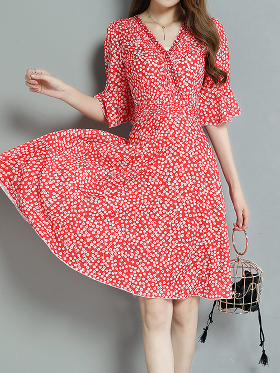 Allover Tiny Flower Printed V-Neck Bell Sleeve Skater Dress