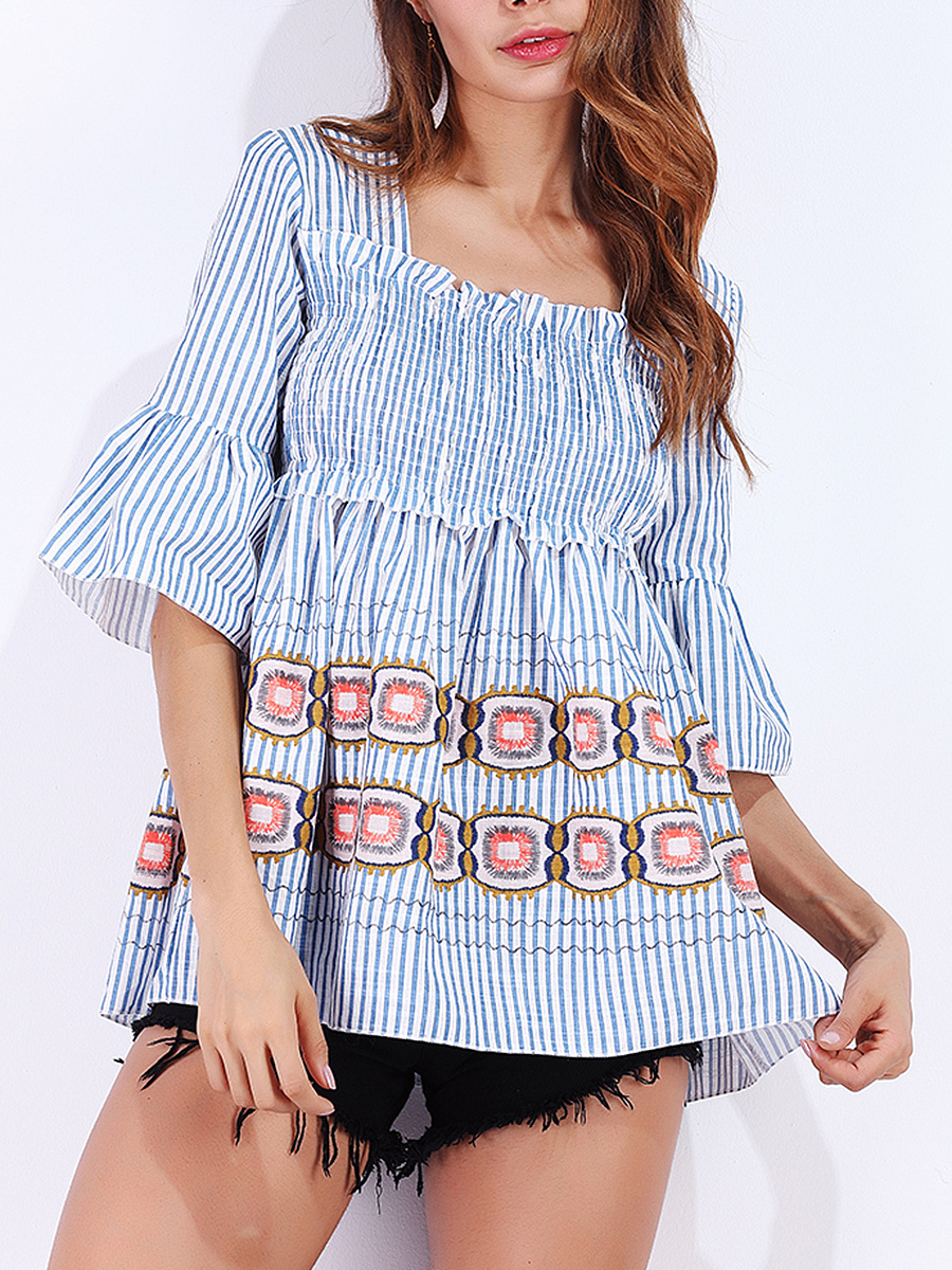 Square Neck Smocked Bodice Printed Striped  Bell Sleeve T-Shirt