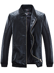 Band Collar PU Leather Pocket  Plain Men Jacket