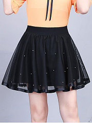 Decorative Lace  Plain  Pleated Mini Skirts