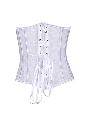 Sexy Front Button Transparent Elastic Lace Up Corsets Waist Shaper Bustiers For Women