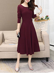 Fashionround Neck  Plain Date  Maxi Dress