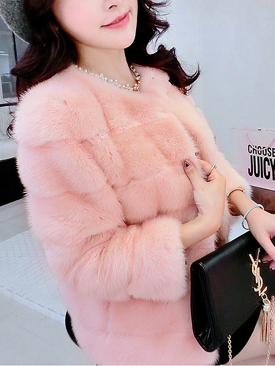 Collarless Fluffy Plain Faux Fur Coat