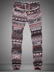 Tribal-Printed-Striped-Elastic-Waist-Mens-Casual-Pants