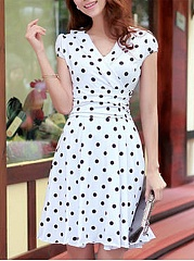 V-Neck  Ruffled Hem  Polka Dot Skater Dress