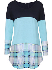 Color Block Plaid Curved Hem Long Sleeve T-Shirt
