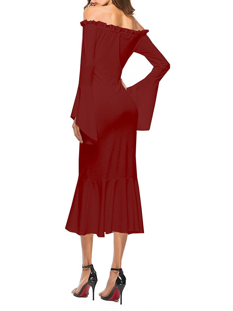 Off Shoulder  Ruffled Hem  Plain Maxi Dress