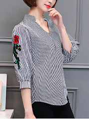 V-Neck  Embroidery Vertical Striped Blouse