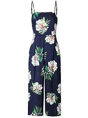 Spaghetti Strap Floral Printed Wide-Leg Cropped Jumpsuit