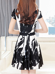 Round Neck  Abstract Print Hollow Out Skater Dress