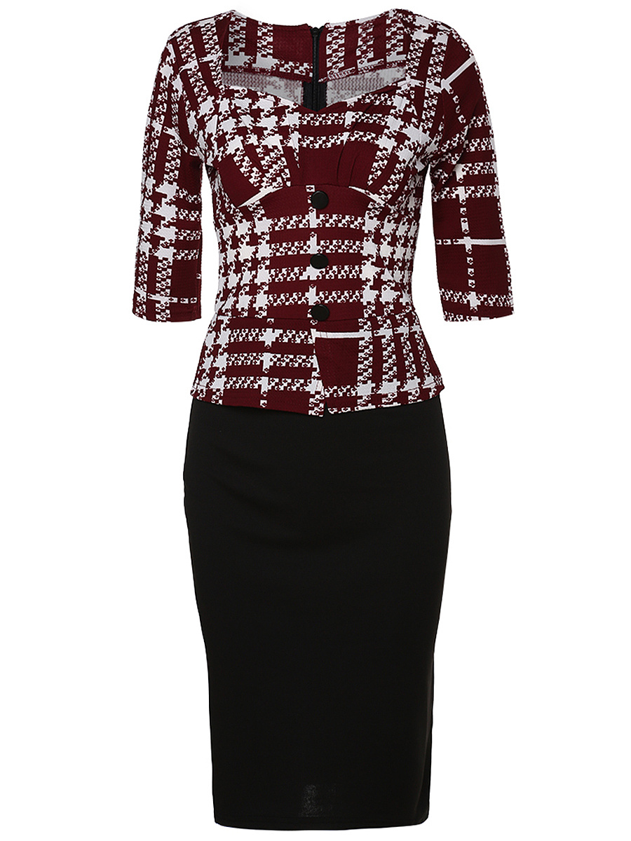 Sweet Heart Plaid Bodycon Dress