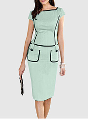 Contrast Trim Patch Pocket Round Neck Slit Bodycon Dre