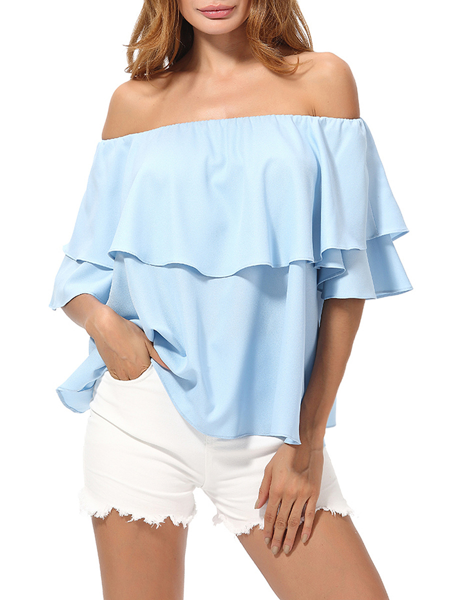 Off Shoulder Flounce Plain Short Sleeve T-Shirt