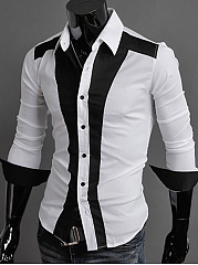 Modern Black White Color Block Men Shirts