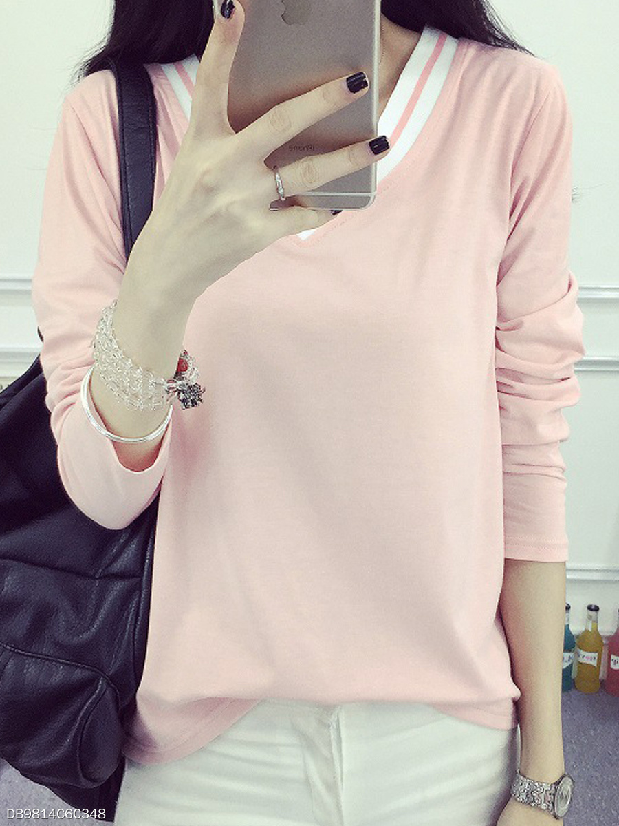 Autumn Spring Winter  Cotton  Women  V-Neck  Contrast Piping  Plain Long Sleeve T-Shirts