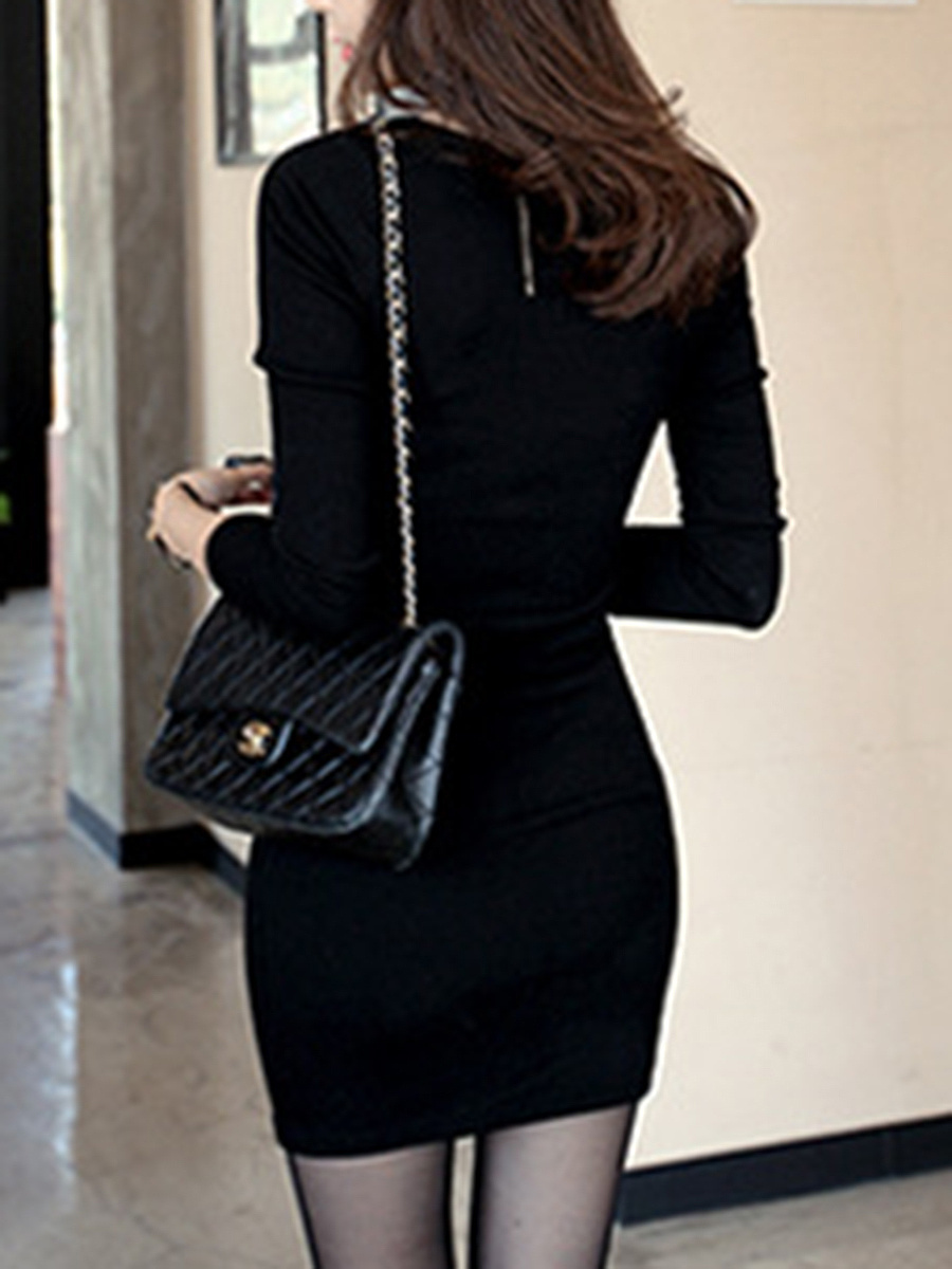 Round Neck Zips Plain Bodycon Dress