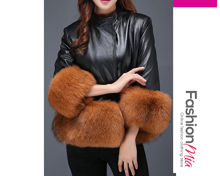 gender:women, hooded:no, thickness:thick, brand_name:fashionmia, outerwear_type:coat, style:fashion,japan & korear, material:faux fur,pu, collar&neckline:band collar, sleeve:three-quarter sleeve, embellishment:patchwork, pattern_type:plain, supplementary_matters:all dimensions are measured manually with a deviation of 2 to 4cm., occasion:date,party, season:winter, package_included:top*1, lengthshouldersleeve lengthbust
