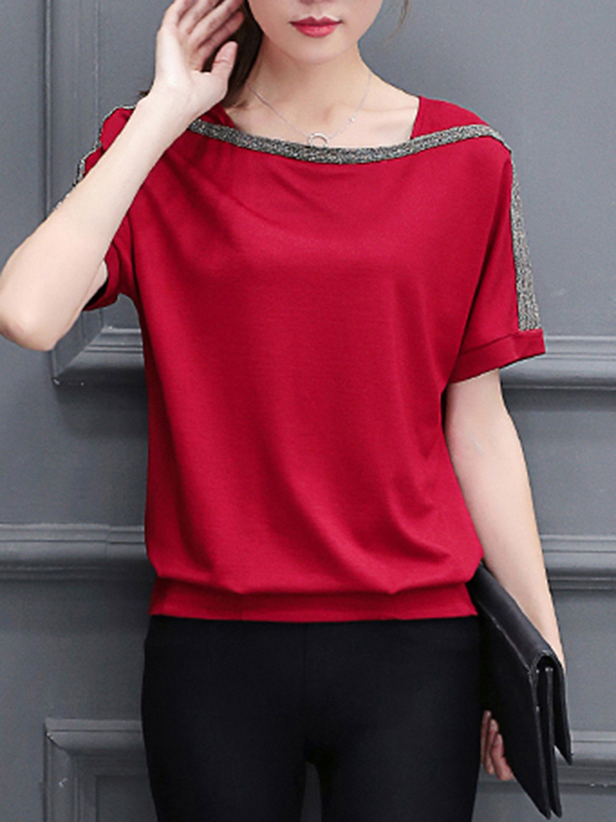 Square Neck  Color Block Blouse