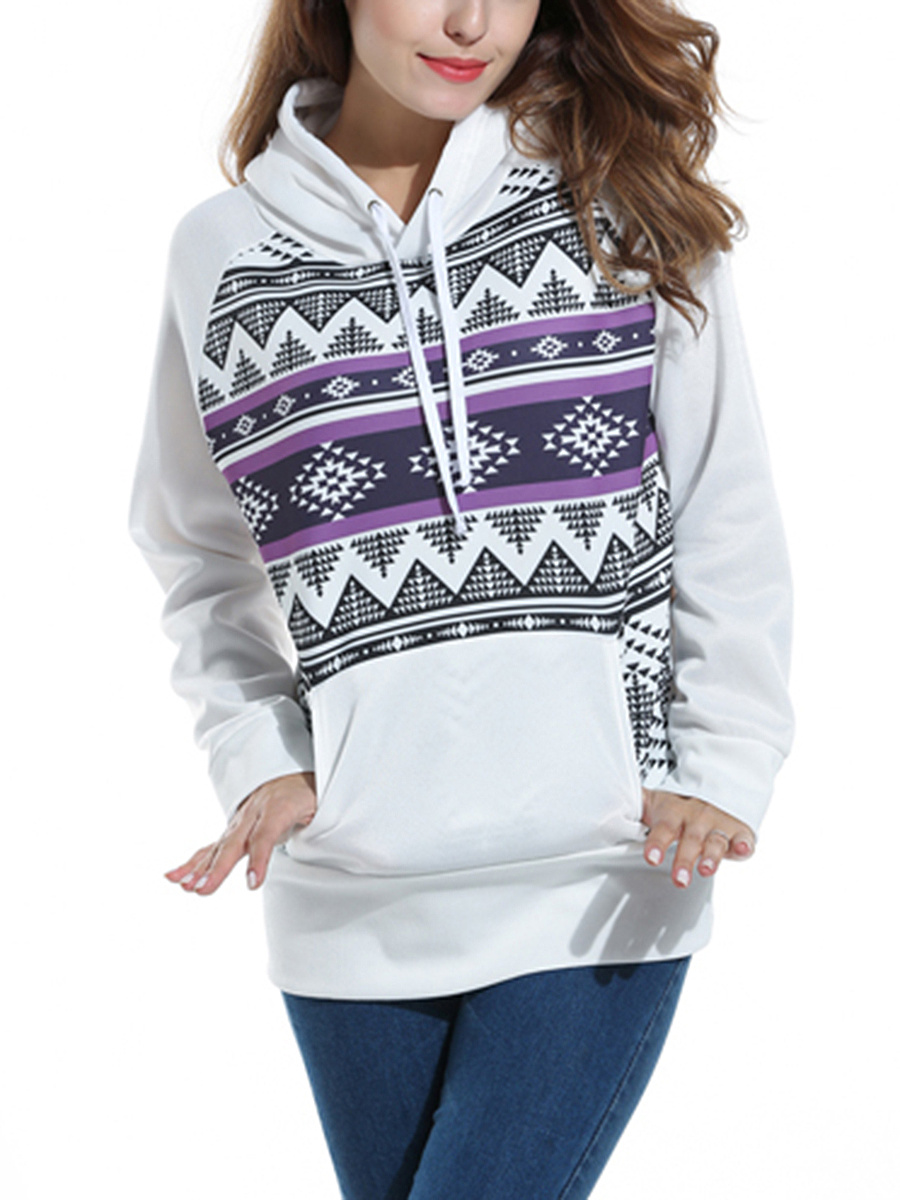 Kangaroo Pocket Zigzag Striped Hoodie