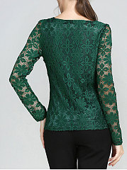 Autumn Spring  Lace  Women  Square Neck  See-Through  Lace  Long Sleeve Blouses