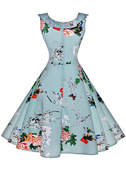 Classical Doll Collar  Printed Skater Dress