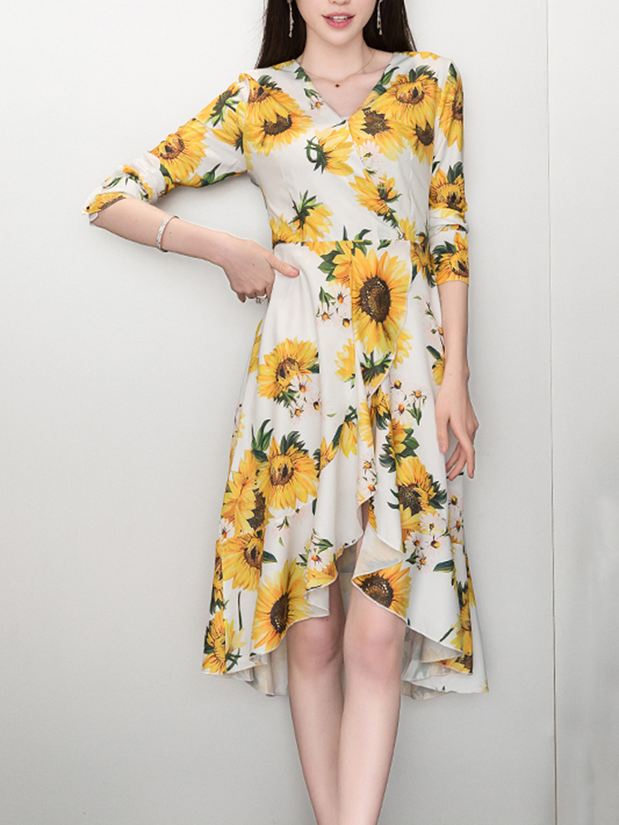 V-Neck Sunflower Printed High-Low Maxi Dress