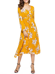 Deep V-Neck Floral Printed Chiffon Empire Maxi Dress