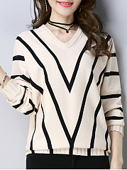 V Neck  Stripes  Batwing Sleeve Knit Pullover