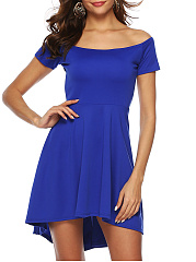 Word Collar  Plain Skater Dress