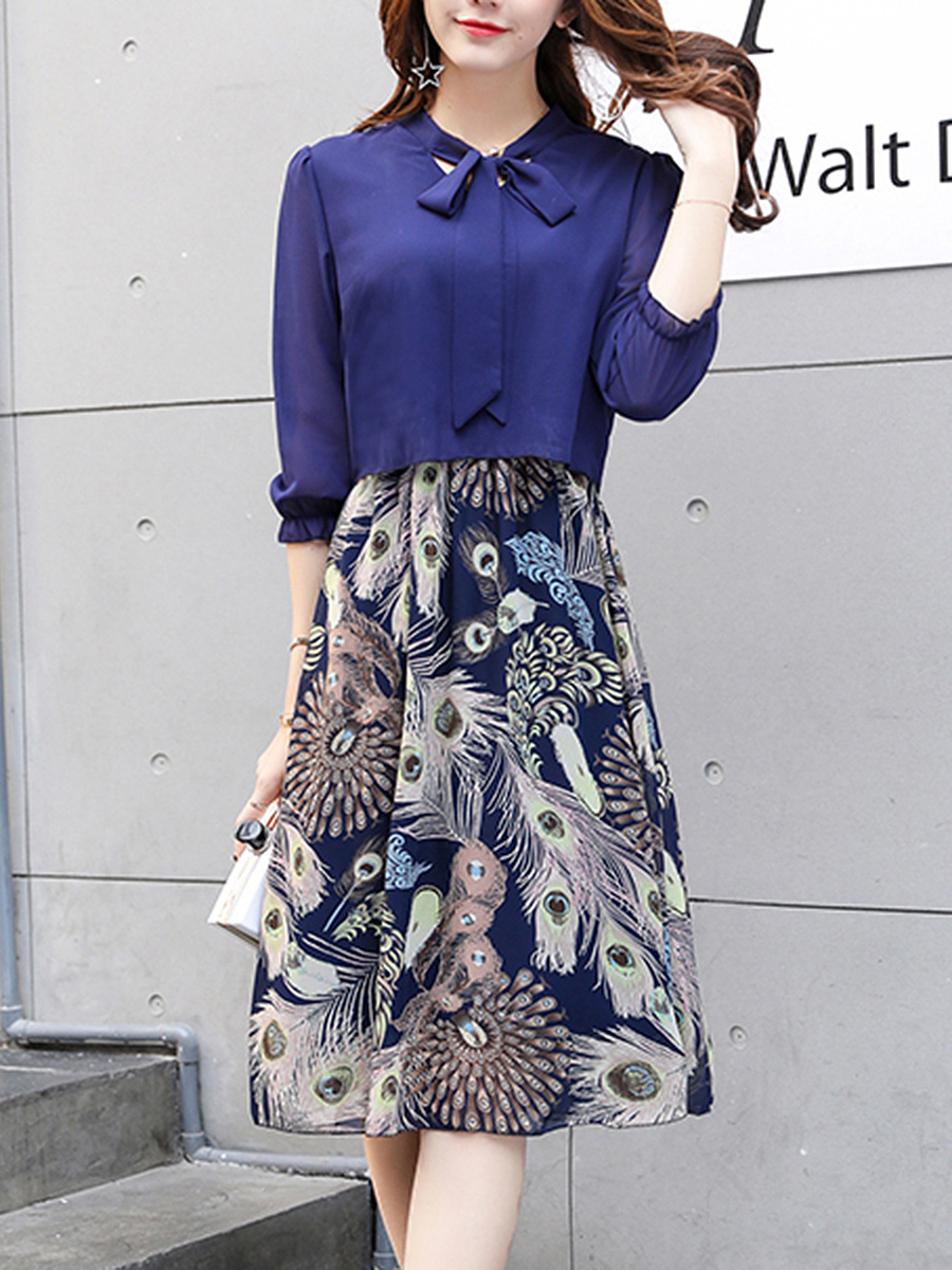 Tie Collar Bowknot Printed Chiffon Maxi Dress